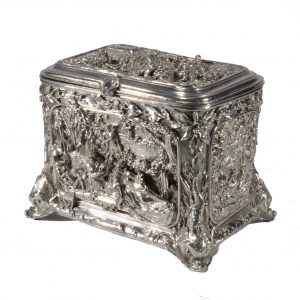ANTIQUE DUTCH ORNATE SILVER PLATED WEDDING CASKET