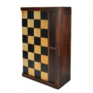 ANTIQUE FOLDING CHESS & BACKGAMMON BOARD BOX