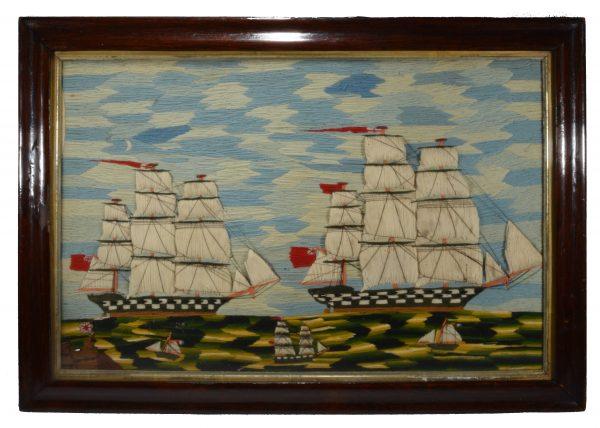 antique-sailors-woolwork-picture-five-ships-folk-art-rare-DSC_0741