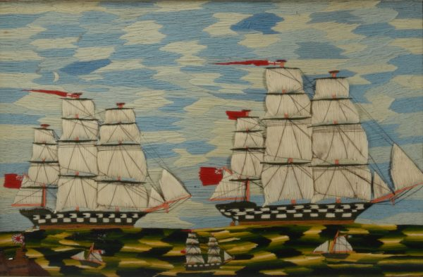 RARE ANTIQUE SAILOR'S WOOLWORK PICTURE OF FIVE SHIPS