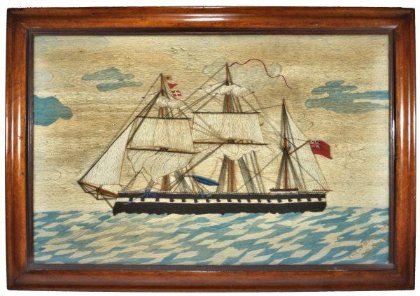 antique-sailors-woolwork-picture-royal-oak-ironclad-battleship-folk-art-DSC_0736a
