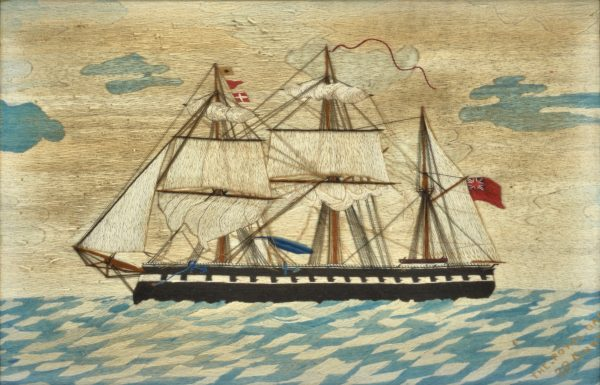 ANTIQUE SAILOR'S WOOLWORK PICTURE OF THE ROYAL OAK