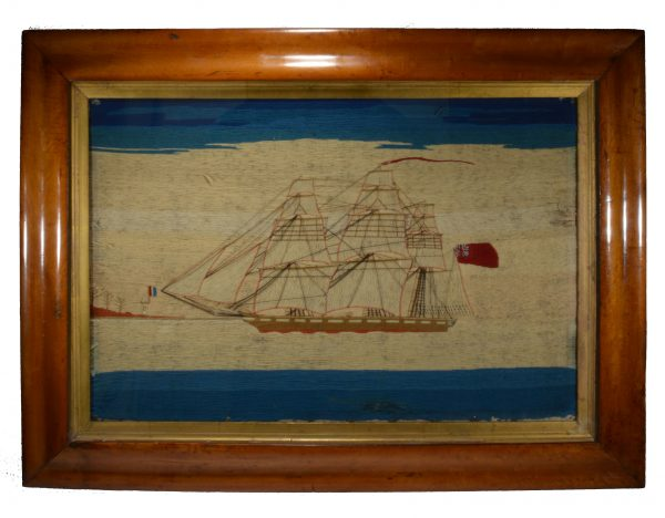 antique-sailors-woolwork-picture-warship-french-lighthouse-folk-art-DSC_0739
