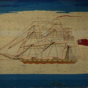 ANTIQUE SAILOR'S WOOLWORK PICTURE WITH SHIP LIGHTHOUSE