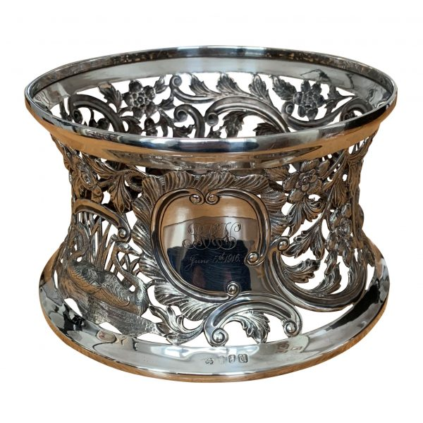 ANTIQUE IRISH SILVER DISH RING BY WAKELY & WHEELER