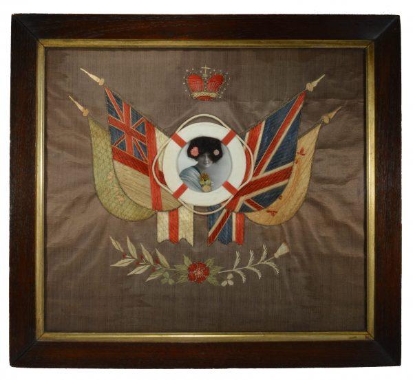 antique-sweetheart-silkwork-picture-woman-flags-folk-art-DSC_0742