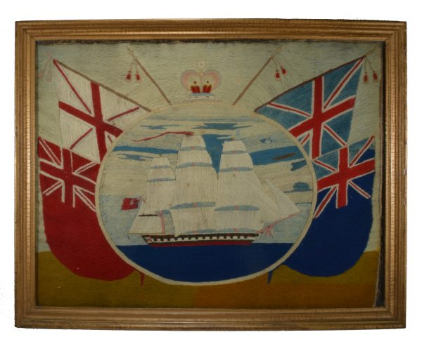 folk-art-sailors-woolwork-picture-warship-flags-antique-DSC_0740