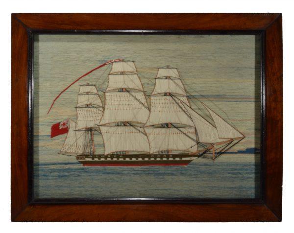 sailors-woolwork-picture-sailing-warship-british-antique-folk-art-DSC_0743