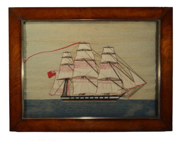 woolwork-picture-sailing-warship-sailor-woolie-antique-folk-art-DSC_0744