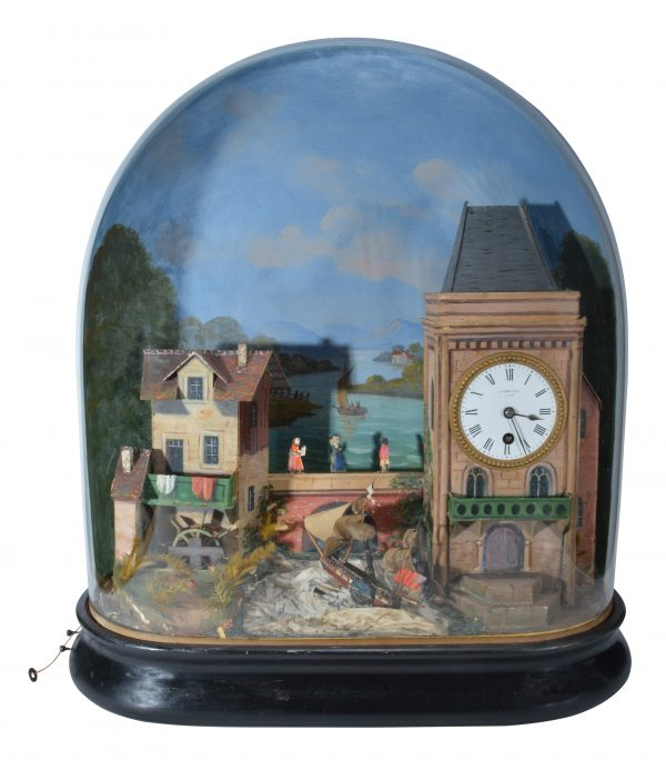 ANTIQUE FRENCH ROCKING SHIP CLOCK AUTOMATON WITH GLASS DOME