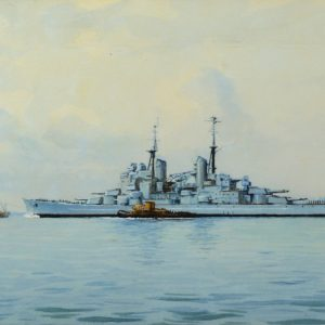 ERIC TUFNELL-WATERCOLOUR-HMS VANGUARD PORTSMOUTH