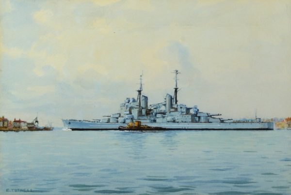 ERIC TUFNELL-WATERCOLOUR-HMS VANGUARD PORTSMOUTH