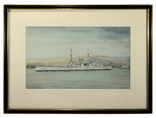 eric-tufnell-watercolour-painting-HMS-king-george-V-faslane-marine-